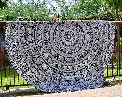 raajsee Indien Strandtuch Rund Mandala Hippie/Groß Indisch Rundes Baumwolle/Boho Runder Yoga Matte Tuch Meditation/Tischdecke Rund aufhänger Decke Picknick Teppich 70 inch (Schwarz-weißer Elefant)