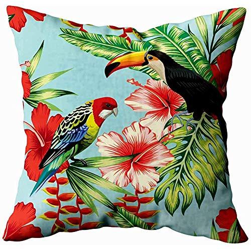 koniqiwa Couch-Kissenbezüge, Wurfs-Kissenbezüge-rosa Flamingo-Schaumgummiringe-modische Aquarell-Illustration auf weißer Hintergrund-exotischer Kunst
