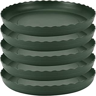 Plant Saucer 10 inch Drip Trays Green Plastic Tray Saucers Indoor Outdoor Flower Pot Round (10 in x 5 Pack)