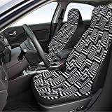 Car Front Seat Covers 2 Piece, Black and White Auto Seat Cover - Geometric Op Art Pattern Unusual Checked Optical Illusion Effect Modern, Black White