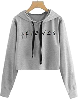 ALAPUSA Long Sleeve Sweatshirt for Women/Girls Letters Printed Hoodie Casual Pullover