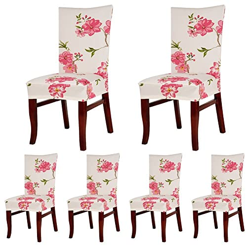 Charmant SoulFeel 6 X Soft Fit Stretchable Dining Chair Covers With Printed Floral  Patterns, Spandex Banquet