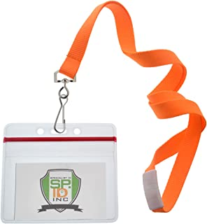 12 Pack - Premium Bright Neon Lanyards with Breakaway Clasp & Heavy Duty Ziplock Badge Holder by Specialist ID (Horizontal, Orange)
