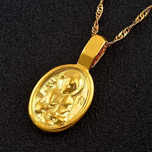CCXXYANG Co.,ltd Necklace Virgin Mary and Son Catholic Pendant Necklaces for Women Girls Christian Gold Color Religious Jewelry Gifts