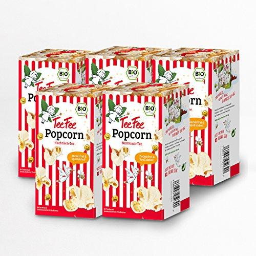 TeeFee Bio Früchtetee mit Popcorn Geschmack, 5er Pack ( 5 x 20 Teebeutel à 1,5g), zuckerfrei und ohne Kalorien, Nachtisch-Tee