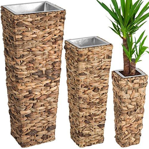 SSITG 3er Set Blumentopf Wasserhyazinthe Blumenkübel Pflanzkübel Pflanzenkübel braun