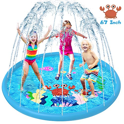 VATOS Sprinkler Splash Pad Water Play Mat for Kids Toddler, 67'' Kids Pool for Outdoor Gardens Backyards Games Summer Spray Column Fun Water Games Best Gifts for Age 1-12 Years Old Boys and Girls