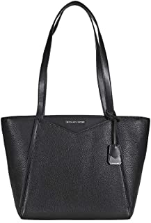 Whitney Small Leather Tote- Black
