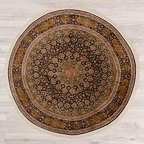 Lifetex.eu Teppich Ghom Seide Kaschmir ca. 195 cm rund Braun handgeknüpft Seide Klassisch hochwertiger Teppich