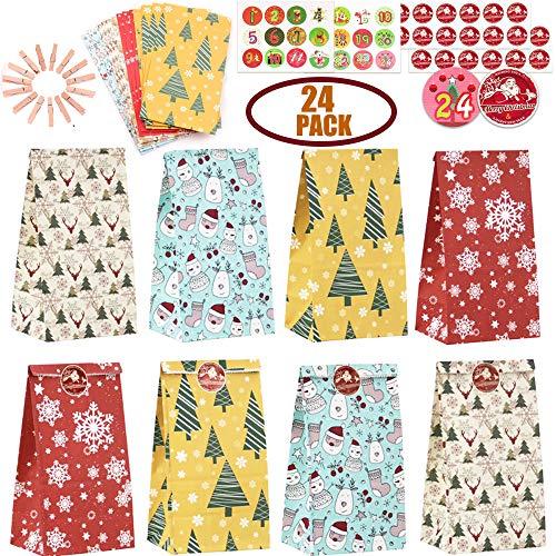 Adventskalender zum Befüllen Adventskalender Selber Befüllen Weihnachtskalender Basteln, 24 Kraftpapiertüten Papiertüten Weihnachten Geschenktüten mit Zahlen Aufkleber für DIY Adventskalender