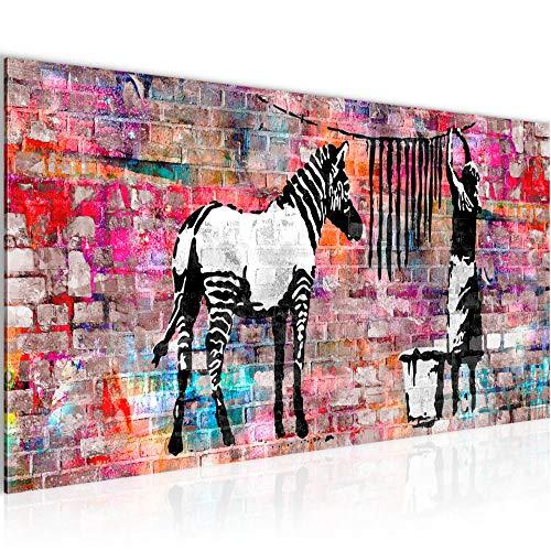 Wandbilder Banksy Washing Zebra Modern Vlies Leinwand Wohnzimmer Flur Street Art Bunt 012912c