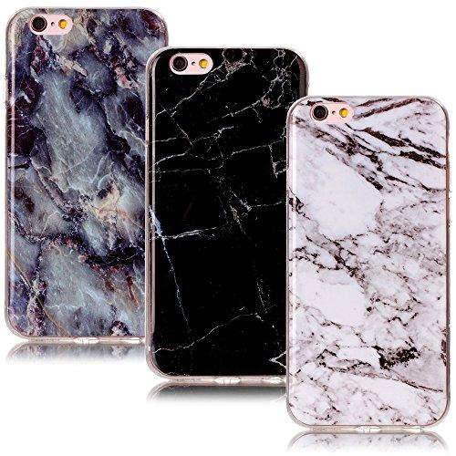 CLM-Tech 3in1 Accessori Set: 3 x Custodia in TPU Gomma per iPhone 6 6S Case Gel Marmo Modello Nero/Bianco/colorato Cover