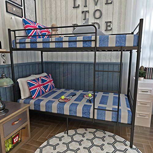 Panana Metal 3FT Single Bunk Bed Frame with Safety Guardrail 2-Storey Bed Bedroom Dorm Apartment Furniture for Adults Twins Teenagers Children