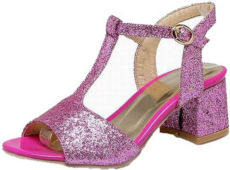 WeiPoot Women's Solid Kitten-Heels Buckle Open-Toe Sandals, EGHLH007839