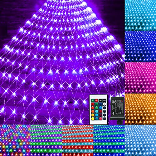 Color Changing Christmas Net Lights 9.8x6.6ft 203 LED Connectable Plug in LED Mesh Lights with Remote for Xmas Tree Lights, Bushes, Wedding, Garden, Indoor, Outdoor Decorations Clearance (Multicolor)