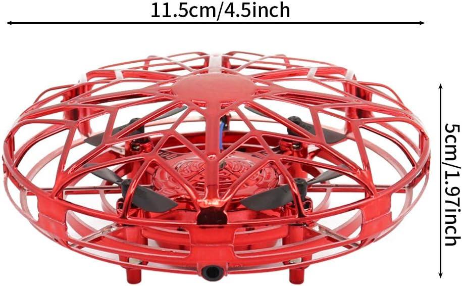 Rojo SATOHA Mini dron operado a Mano para Interiores con 5 sensores interactivos mejorados F/ácil helic/óptero de Bola voladora OVNI Giratorio de 360 Grados para ni/ños
