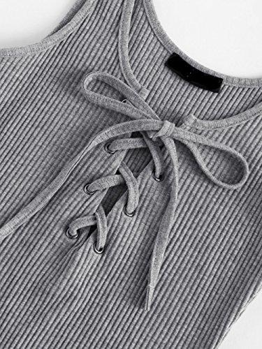MakeMeChic Women's Sleeveless Lace Up Knit Sexy Leotard Bodysuit Grey L