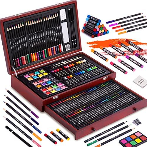 143 Piece Deluxe Art Set, Paint Set in Portable Wooden Case,Professional Art...