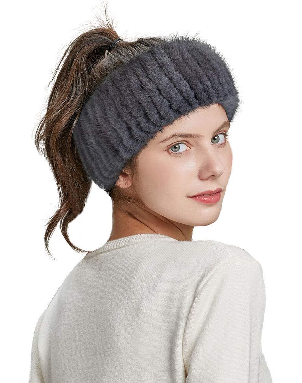 Pulinda Women Winter Headbands Real Mink Fur Knitted Elastic Bands For Girl Fashion Luxury Female Warm Hair Accessories (Grey)