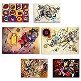 KANDINSKY - Set di Stampe da Parete - Senza Cornice - Decorazioni da Muro per Soggiorno, Camera da Letto e Cucina - Poster Abbinati - 2 pz. A3 (cm 42x29,7) + 4 pz. A4 (cm 29,7x21)