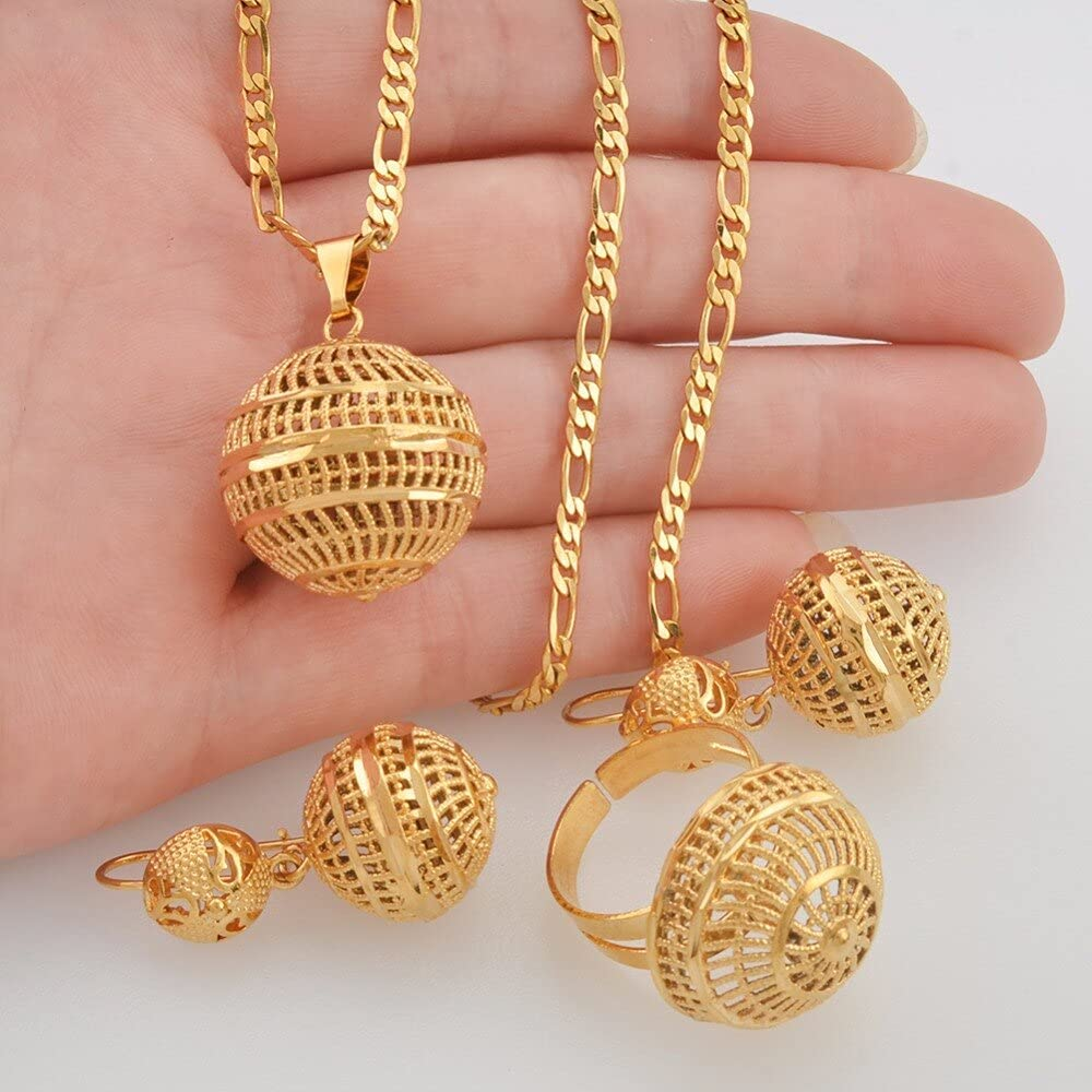 Maiconfrog - African Beads Jewelry Sets Pendant Necklaces Earrings Ring Women Gold Color Round Ball Chains Papua New Guinea