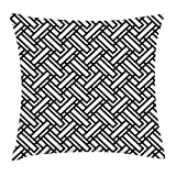 JIMSTRES Black and White Throw Pillow Cushion Cover, Monochrome Interlocking Stripes Pattern with Modern Abstract Inspirations, Decorative Square Accent Pillow Case, Black White 18x18 inches