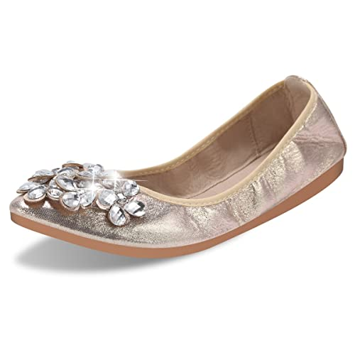 db24b15e8e1f QIMAOO Womens Fold up Pumps Roll up Shoes Foldable Ballet Flats with  Rhinestone