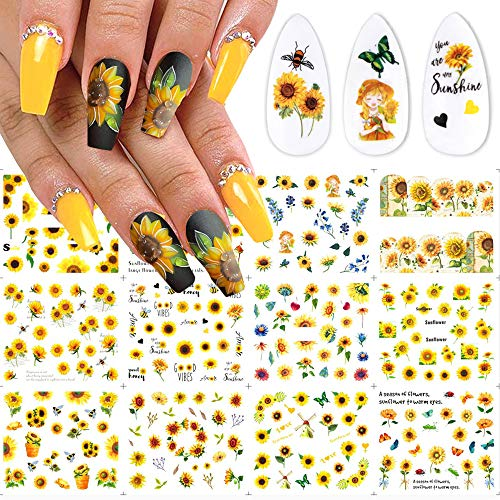 Sunflower Nail Water Stickers Decals Foil Tattoo Nail Art Supplies Vibrant Sliders Yellow Blossoms Daisy Flowers Leaf Tree Summer Charms Design for Manicure Nail Art Watermark Decorations 12 PCS