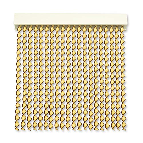Cortinas Exterior Puerta de Cordon | 72 Tiras Plastico PVC y Barra Aluminio | Ideal para Terraza y Porche | Antimoscas | Beige-Marron | 210 * 90