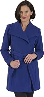 Coat Man 3/4 Belted Wrap Coat with Square Collar