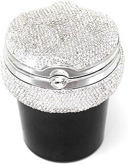Cinzeiro de carro de diamante de cristal, KKmoon Bling portátil sem fumaça Suporte para copo de cilindro com indicador de ...
