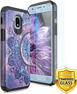 TJS Case for Samsung Galaxy J3 2018/J3 V 2018/J337/Express Prime 3/J3 Star/J3 Orbit/J3 Achieve/J3 Prime 2/Amp Prime 3/Sol 3, with [Tempered Glass Screen Protector] Hybrid Shockproof (Mandala)