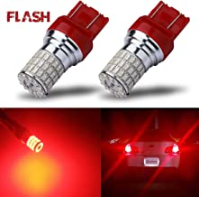iBrightstar Newest 9-30V Flashing Strobe Blinking Brake Lights 7440 7443 T20 LED Bulbs replacement for Tail Brake Stop Lights, Brilliant Red