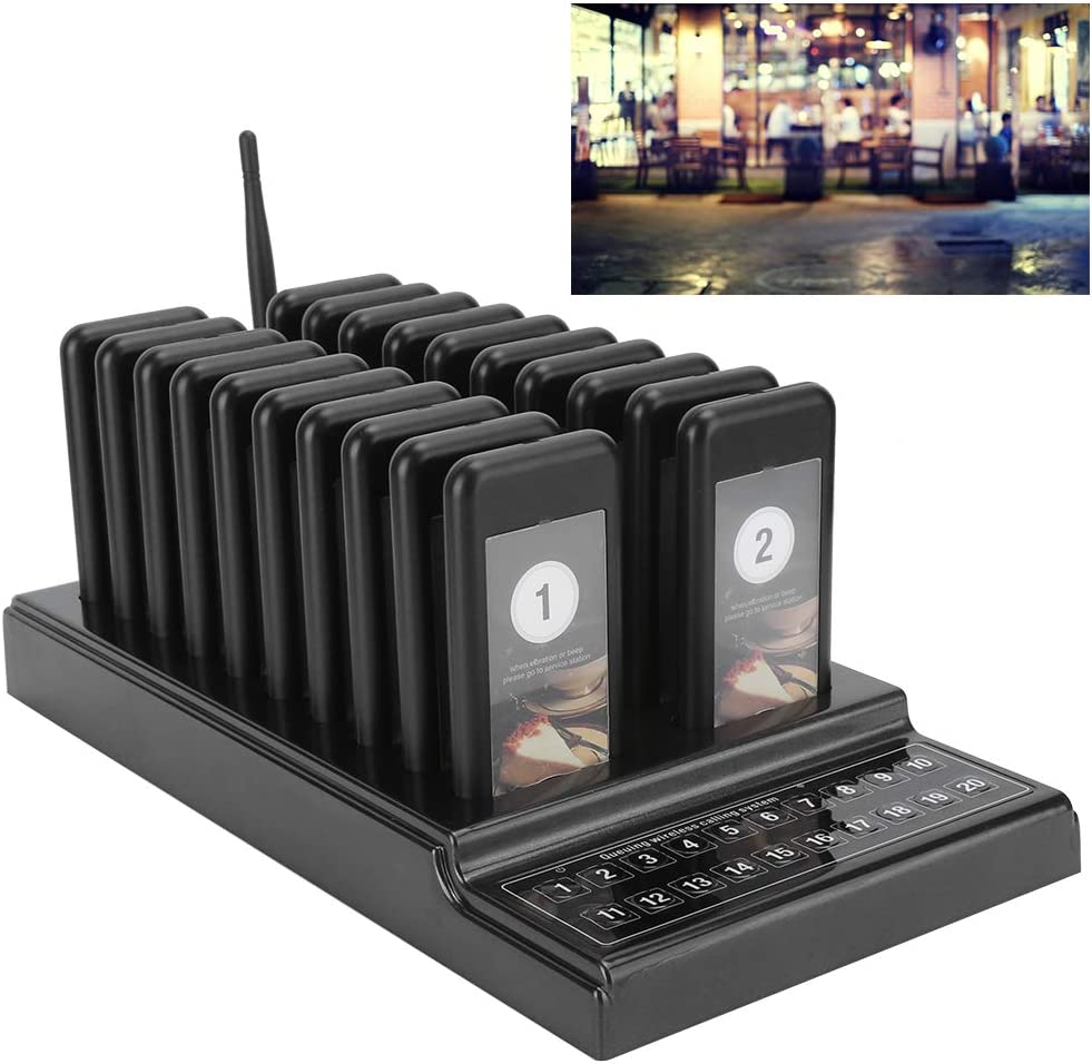 Nero Coaster Pager Calling System Restaurant Pager Wireless Calling System Ricevitore 20 canali con indicatore di Carica 110‑240V ASHATA Wireless Guest Call System