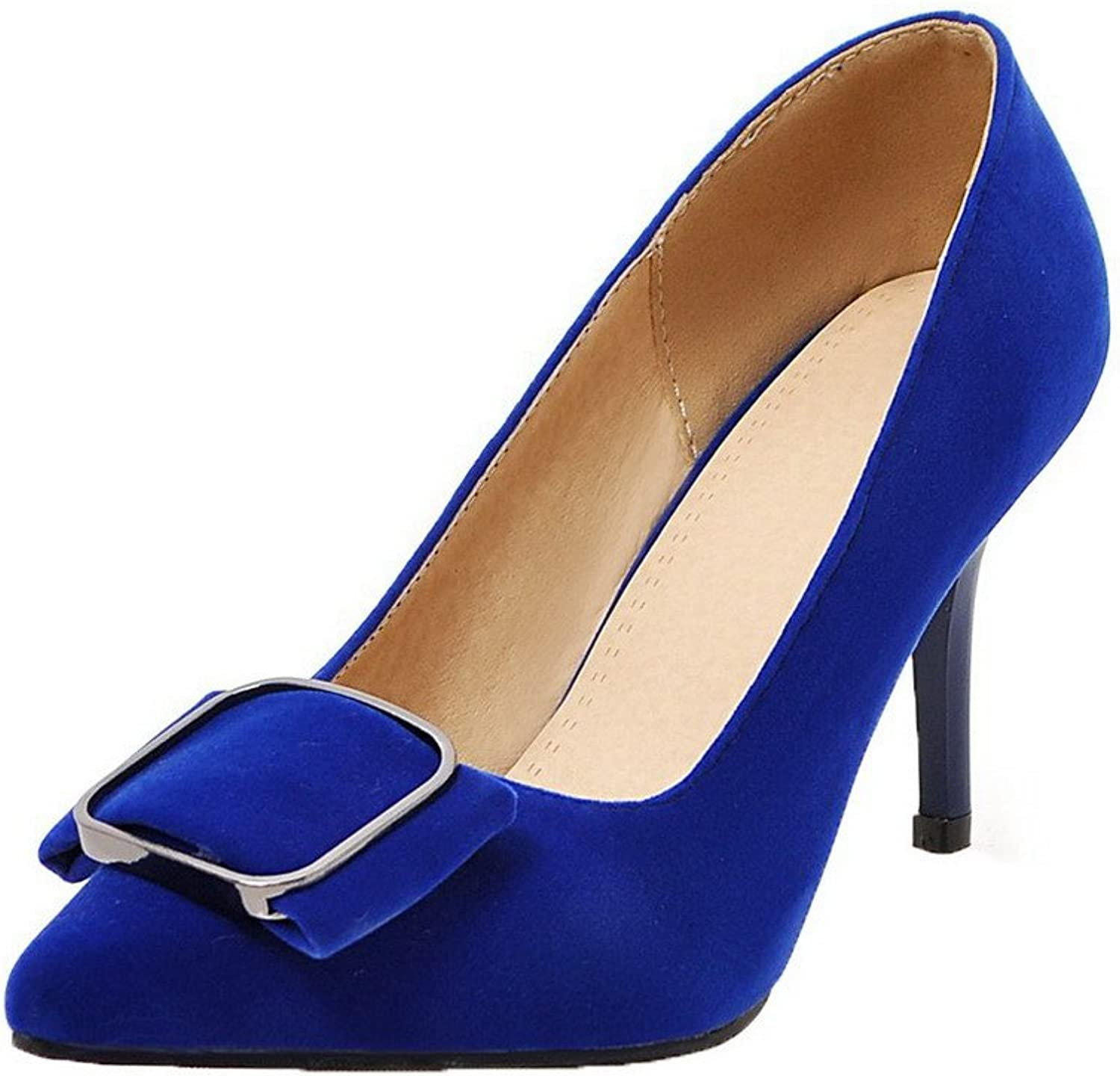 WeenFashion Women's Pull-On Pointed Closed Toe Frosted Solid Pumps-shoes,AMGDX006110