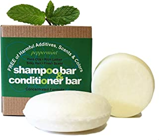 Whiff Shampoo Bar & Conditioning Bar, Peppermint: Rich lather, made USA, Limited Ingredients, FREE from harmful Additives, Fragrances & Colorings; Concentrated formula (peppermint)