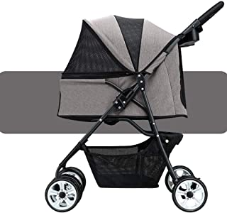 Pet stroller Foldable 4-Wheel Pet Stroller,Pet Stroller,Pet Supplies,Outdoor Travel Pet Stroller, Pet Accessories,for Small and Medium Pets (Color : Grey)