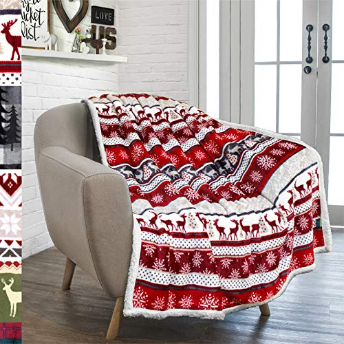 PAVILIA Premium Christmas Sherpa Throw Blanket | Christmas Decoration Reindeers, Fleece, Plush, Warm, Cozy Reversible Microfiber Holiday Blanket 50 x 60