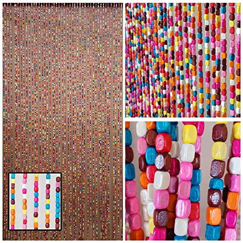 "BeadedString Natural Wood Beaded Curtain-52 Strands-72 High-Boho Door Beads-Bohemian Doorway Curtain-35.5"" W x 72"" H-Rainbow"