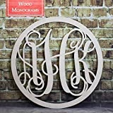 Back40Life - Circle Vine Monogram Unfinished Wood Letters Cutout DIY Decor Nursery