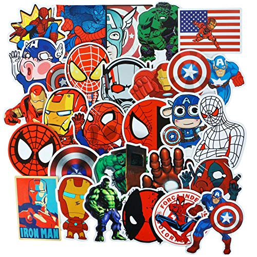 50PCS Vinyl Waterproof Stickers for Water Bottles, Car, Laptop, Kids Boys Girls Toy, Hydro Flask, Luggage, Skateboard, Motorcycle, Bicycle, Decal Graffiti Patches, Marvel Avengers Spiderman Stickers