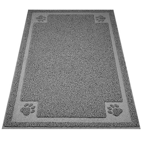 """UPSKY Large Cat Litter Mat Trapper 35""""×23"""" Traps Litter from Box and Paws Scatter Control for Litter Box Soft on Sensitive Kitty Paws Easy to Clean Durable (Grey)"""