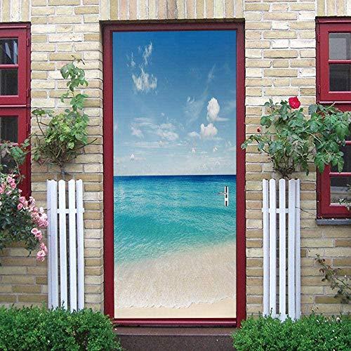 LuSeven vinilo para puertas de cristal Cielo azul nubes blancas playa paisaje. 77x200cm Pegatina Vinilo floral para puertas, cocinas, baños, despensas, farmacias, boutiques, probadores, restaurantes
