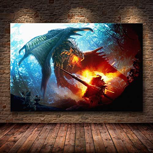 H/F Juego Clásico Monster Hunter World Cartel De Lienzo De Arte HD DIY Estilo Nórdico Bar En Casa Decoración De Café Mural Pintura Al Óleo Sin Marco40X60Cm 6635L