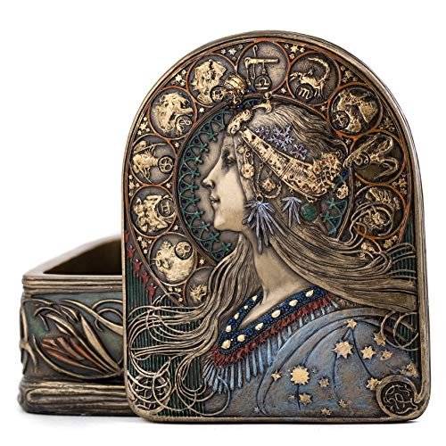 Top Collection Iconic Art Nouveau Jewelry Box - Collectible Antique Replica in Premium Cold Cast Bronze - 2-Inch Decorative Lady Box
