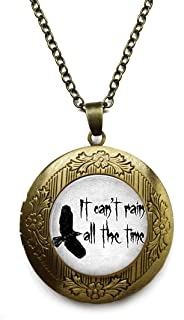 LEO BON Vintage Retro It Can't Rain All The Time The Crow QuotePendant Necklace Bronze Antique Jewelry