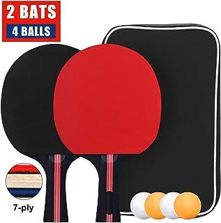 comprar comparacion Sets de Ping Pong Pala y Pelota, Sets de Raquetas de Tenis de Mesa 2 Palas Ping Pong y 4 Pelotas Ping Pong, Set Raqueta de...