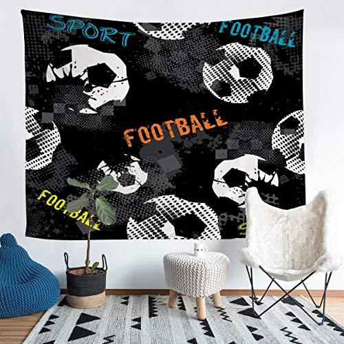 Loussiesd - Tapiz de fútbol para niños, niños, adolescentes, diseño de pelota de fútbol, color azul