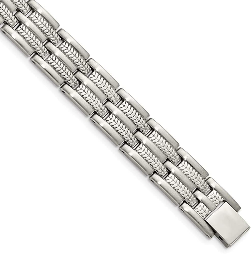 ICE CARATS Stainless Steel Brushed 8.75in Bracelet 8.75 Inch Men Link Fashion Jewelry for Dad Mens Gifts for Him