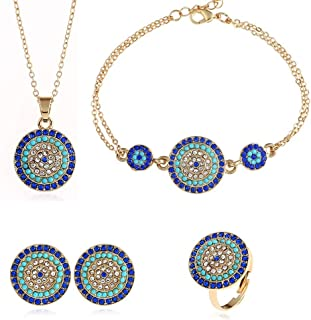 AILUOR Lucky Round Evil Eye Jewelry Set, Gold Inspirational Turkish Hamsa Blue Cubic Zirconia Crystal Evil Eye Charm Pendant Necklace,Ring,Bracelet and Stud Earrings Sets for Girl Women